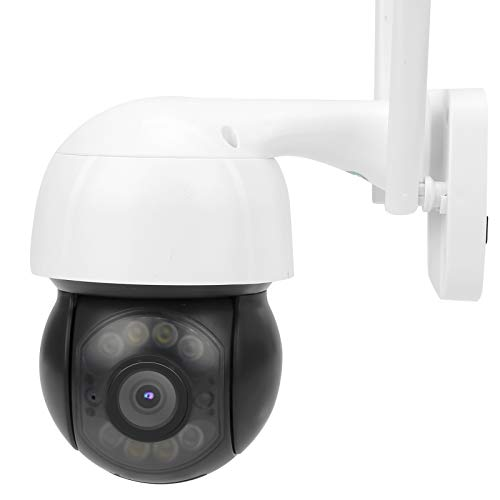 Cámara WiFi de 3MP, PTZ PIR Visión Nocturna a Todo Color Audio bidireccional IP66 Soporte CCTV a Prueba de Agua 5 usuarios en línea(EU Plug)