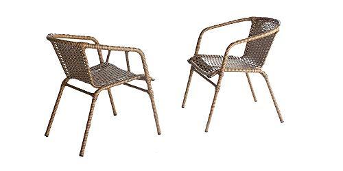Poltrona Cadeira com Braço Decorart em Fibra Sintetica Sacada e Varanda cor Bege