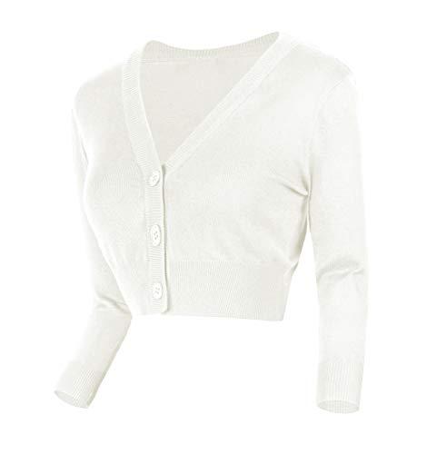 Urban GoCo Damen V-Ausschnitt Kurz-Strickweste Strickjacke (XL, weiß)