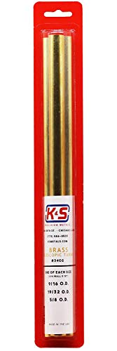 """K&S Precision 3402 Round Brass Telescopic Tubes 9/16"""", 19/32"""", 5/8"""" O.D. x .014"""" Wall Thickness X 12"""" Long, Pack of 3"""