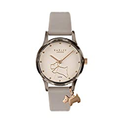 Pink Silicone Strap Gold Dial with Dog Design Tortoise Shell Plastic Case Rose Gold Radley Charm Includes Offical Radley Gift Box and Guarantee