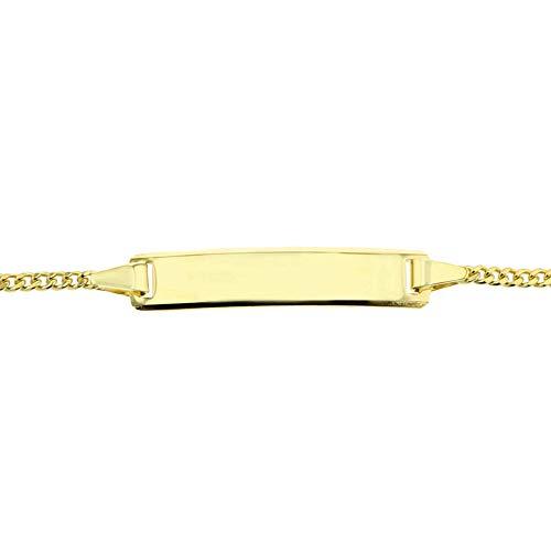 JC Trauringe 333 Gold Baby ID-Armband Kinder Goldarmband 16 cm I Armband mit Gravur Panzerflach Taufarmband Gold Namensarmband I Babyarmband mit Namen I Kinderschmuck made in Germany I 5.56059