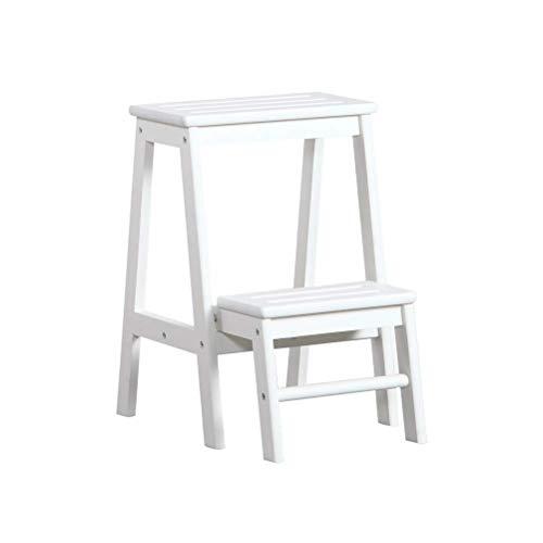 JXJ Taburete de montaje de 2 pasos, para adultos y niños, plegable, escaleras, escaleras de madera, taburetes pequeños, banco de zapatos, estante de flores (color: blanco)