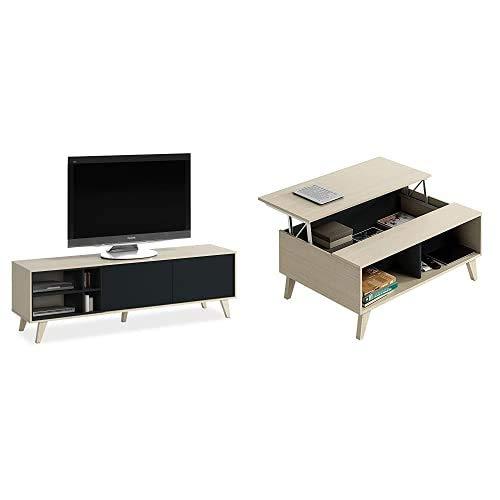 Habitdesign Mueble de TV, Mueble de salón, Comedor, Modelo Zaiken, Acabado Color Roble y Gris Antracita + Mesa de Centro Elevable con Revistero Incorporado