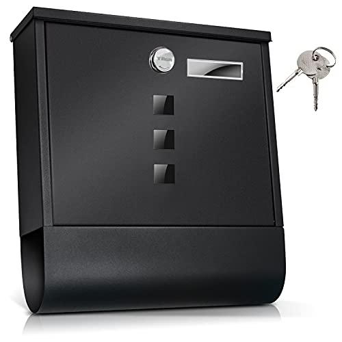 TÄGA 2214 Design Briefkasten anthrazit mit Zeitungsfach, Namensschild, Sichtfenster, Edelstahl pulverbeschichtet, abschließbar, 2 Schlüssel