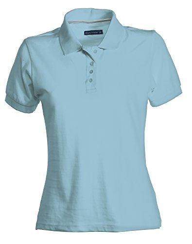 PAYPER Damen Polohemd Venice 100% Baumwolle Kurzarm 4 Knöpfe Nackenband, Farbe:lightblue;Größe:L