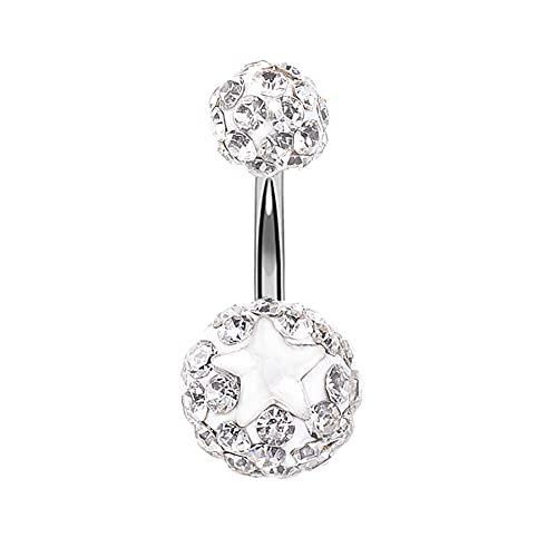 YJZO Anillo de ombligo – 1 pieza redonda de bola de cerámica suave con diamantes de imitación, anillo de piercing para el cuerpo (blanco)