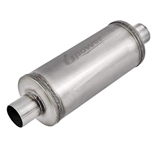 Upower 2.5 Inch Inlet Muffler 2.5' In(C)/Out(C) 6' Round 14' Body Universal Stainless Steel Exhaust Muffler TBM2616 Straight Through Whole Length 20'