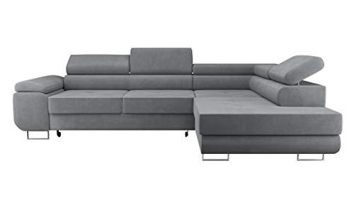 Ecksofa Sofa WILD mit Schlaffunktion und Bettkasten L Form Kopfteilverstellung Modern (Ottomane Rechts, Grau)
