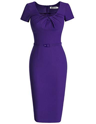 MUXXN Women's Pure Mid Length Going Out Casual Short Dress (XL Violet)