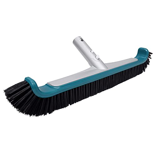 """Poolvio Swimming Pool Brush, 17.5"""" Brush Head with Aluminum Back and Nylon Bristles for Cleaning Walls, Tiles and Floors of Swimming Pool, with EZ Clip (Pole Not Included)"""