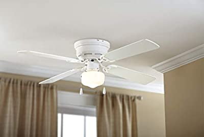 """Mainstays 42"""" Hugger Metal Indoor Ceiling Fan with Single Light, White, 4 Blades, LED Bulb by 765432"""