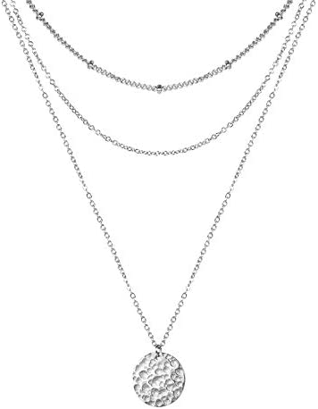 Forevereally Dainty Layered Beaded Chain Choker Necklace Hammered Disc Pendant Necklace Coin product image
