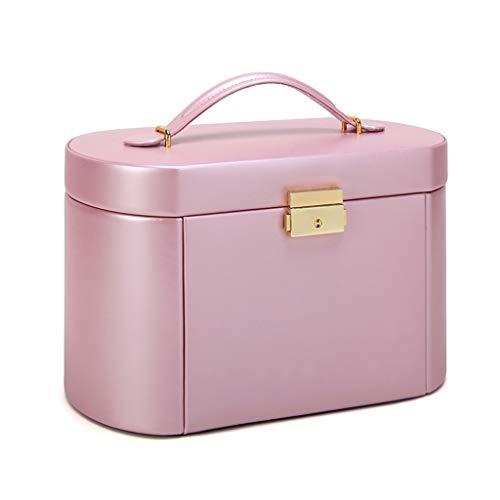 YTRED Caja De Joyería Caja de joyería de Gran tamaño Multi-función de Bloqueo de exhibición de la joyería Caja con Portable de la joyería Caja pequeña de Viajes Multicapa (Color : Pearl Powder)
