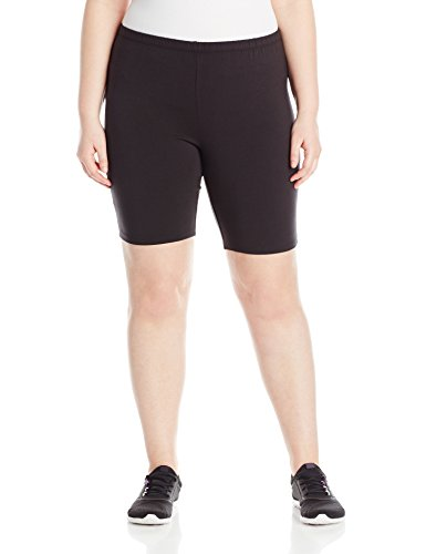 Just My Size Women's Plus-Size Stretch Jersey Bike Short, Black, 2X