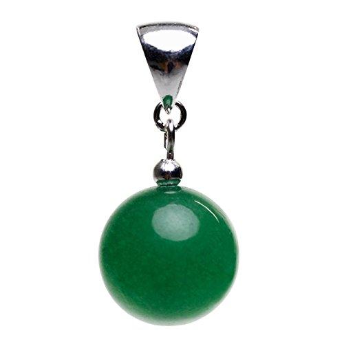 Anhänger aus Jade Kugel grün & 925 Silber Edelstein Kettenanhänger Halsschmuck Damen