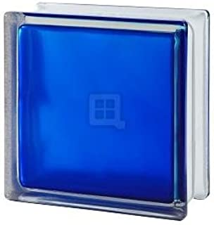 Quality Glass Block 7.5 x 7.5 x 3 Brilly Wave Blue 100 Color Glass Block