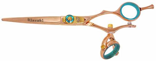 Kissaki Hair Scissors Gokatana 6.0 inches Double Swivel Rose Gold B Titanium Hair Cutting Shears