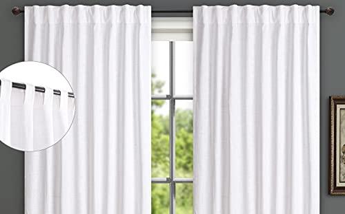 Farmhouse Curtains 50x84 inch White Textured Slub,Bathroom Curtains,Bathroom Window Curtains,84inch Curtain,Cotton Curtains,tab top Curtains,White Cotton Curtains,White Panel Curtain,84 inch Curtains