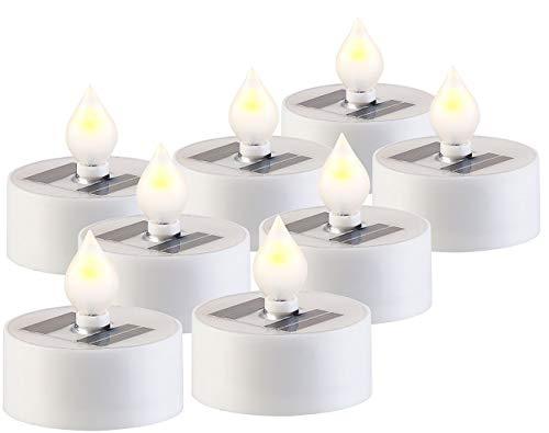 Lunartec Solar Teelichter außen: 8er-Set Solar-LED-Teelichter mit Dämmerungs-Sensor, IP44, weiß (Solar Teelichter für draußen)