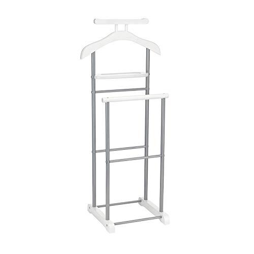 CARO-Möbel Herrendiener Assam in weiß mit Ablage, Stummer Diener, praktische Kleiderablage, moderner Kleiderständer mit Metallgestell