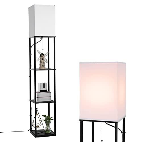 BBHome Moderna lámpara de pie con estante de madera, 3 temperaturas de color regulables, lámpara LED de pie para el salón, dormitorio, oficina y otras habitaciones, bombilla de 9 W incluida (negro)