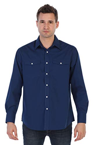 Gioberti Men's Solid Long Sleeve Western Shirt with Pearl Snap-on Buttons, Navy, Large
