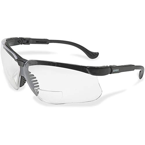 Home Uvex Genesis 2 Diopter Black Safety Glasses With Clear Anti-ScratchHard Coat Lens, Clear Lens, Black Frame, 2.0