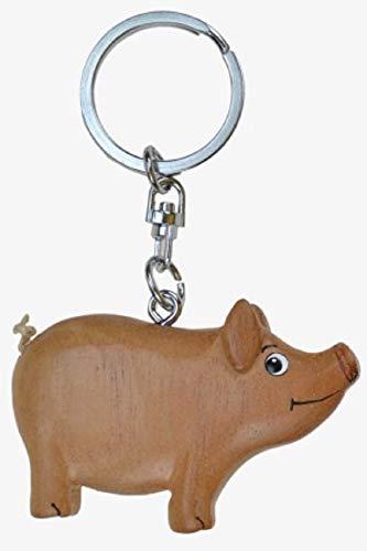 Cornelißen Schlüsselanhänger Schwein, aus Holz und Metall, Schweinchen Glücksbringer