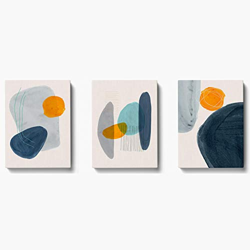 ONELZ Canvas Wall Art 3 Pieces (12x16 inches) Creative Minimalist Geometric Abstract Hand Painted Simple Lines mid Century Watercolor Wall Prints for Modern Bedroom Wall Decor Office Home Decoration