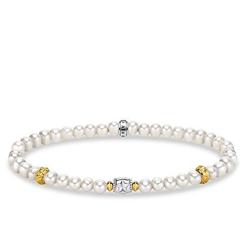 THOMAS SABO Pulsera de mujer beige con perlas con media luna de plata de ley 925, ennegrecida, chapado en oro amarillo 750 A1979-430-14