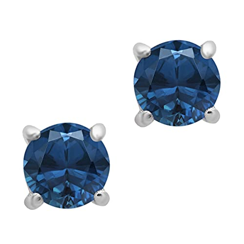 Opción múltiple Piedra preciosa de forma redonda Solitario de plata de ley 925 Pendiente del perno prisionero para las mujeres (Topacio azul londres)