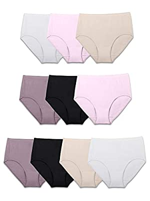 Fruit of the Loom Women's Tag Free Cotton Brief Panties (Regular & Plus Size), Brief-10 Pack-Body Tones, 7 by Fruit of the Loom