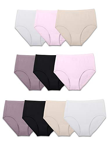 Fruit of the Loom womens Tag Free Cotton Panties (Regular & Plus Size) Briefs, Brief - 10 Pack Body Tones, 6 US