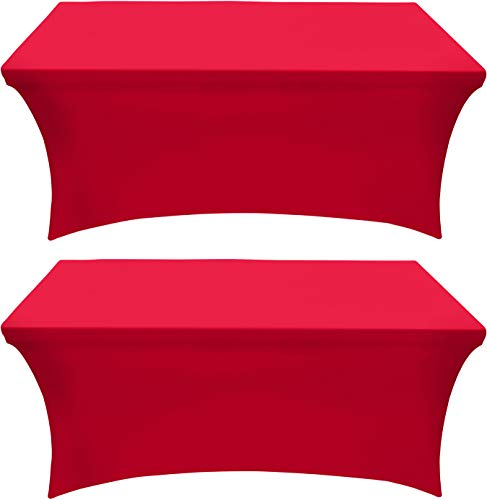 Utopia Kitchen - 2 Pack, 6 Ft Stretchable Tablecloth - Tight Fit Washable and Wrinkle Resistant Spandex Table Cover for Event & Parties (Red)