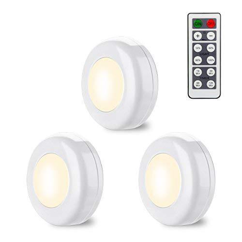 Schrankbeleuchtung LED Schrank batteriebetrieben Lampen Schrankleuchte mit fernbedienung für Schränke, Kleiderschrank, Schlafzimmer, Treppe, Gang, Flur, Schubfach, Warmweiß-EINWEG