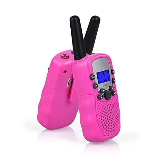 2 x T-388 Walkie Talkie Set para Niños Radios PMR 446 con baterías Cable de carga 3 km Gama 8 canales Juguete y regalo para niños Familia Adultos Aventura Camping Senderismo ( Color : Pink )
