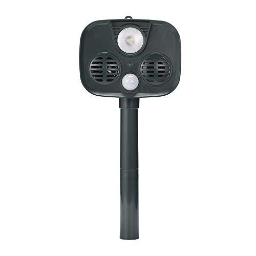 LBWLB Solar Ultrasonic Animal Control Mosquito afweerbaar, waterdicht deodorant voor de tuin op de boerderij met bewegingssensor en flitslicht voor honden, voeten, muizen, vogels