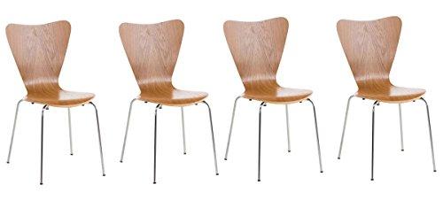 CLP 4X Konferenzstuhl Calisto mit Holzsitz und stabilem Metallgestell I 4X platzsparender Stuhl mit Einer Sitzhöhe von 45 cm, Farbe:Eiche