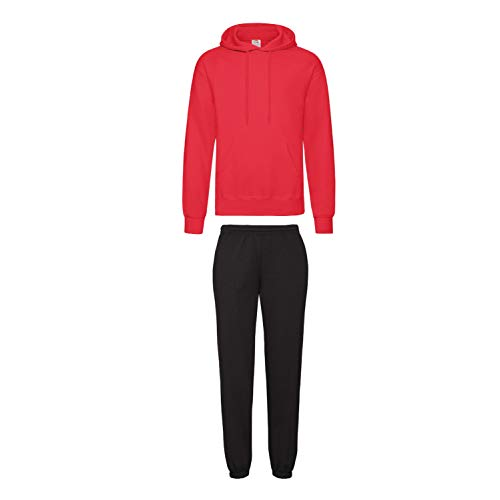 2er-Set Fruit of the Loom Hausanzug Sportanzug Jogginghose & Kapuzensweatshirt (S, Schwarz)
