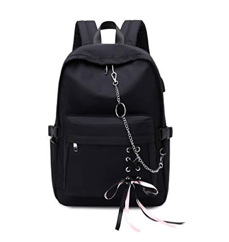 Joymoze Klassischer Rucksack für Frauen stilvoller Schulrucksack für Teenager Mädchen (Schwarz mit Kette)