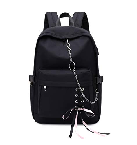 Joymoze Classic Backpack for Women Stylish School Backpack for Teen Girl Black with Chain