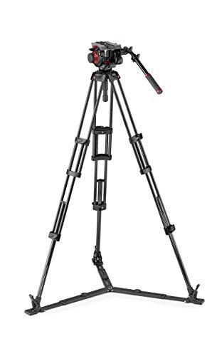 Manfrotto MVK504TWINGC 504HD professionele vloeibare videokop en dubbele buis carbon statief (met grondspin voor DSLR, video- en filmcamera's)
