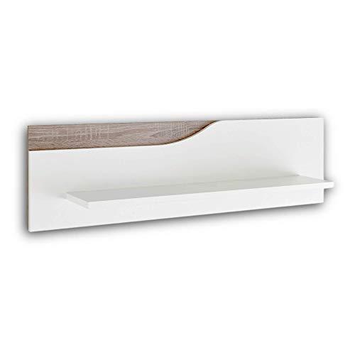 Stella Trading MARA Babyzimmer Wandboard - vielseitig einsetzbares Wandregal in weiß, Eiche Sonoma Optik - 100 x 29 x 22 cm (B/H/T)