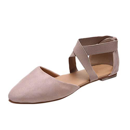 Chaussures pour Femmes, Honestyi Femmes Dames Mode Pointu Bout Plat de Fond Plat Leopard Sandales Casual Chaussures Ceinture élastique Crossover Ballerine