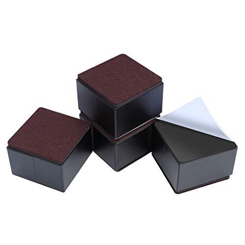 Image of Ezprotekt 5 cm Möbelerhöhung aus Karbonstahl, 8 cm Breit, 8 cm Länge, Selbstklebende Möbelerhöhung fügt 5 cm Höhe zu Betten, Sofas Schränken, Unterstützt 20.000 lbs, Quadrat Schwarz