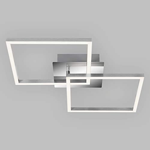 Briloner Leuchten LED Deckenleuchte drehbar, Deckenlampe dimmbar, 24 Watt, 1.800 Lumen, 3.000 Kelvin, chrom-silberfarbig, W, 620x368x73mm (LxBxH)