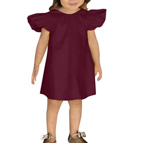 REALIKE Kinder Baby Mädchen Kurze Kleid Mode Rüschen Ärmellos Taste Bogen Kleider Kleinkind Einfarbig Prinzessin Sommerkleid Urlaub Outfit Kleidung Mini Kleid