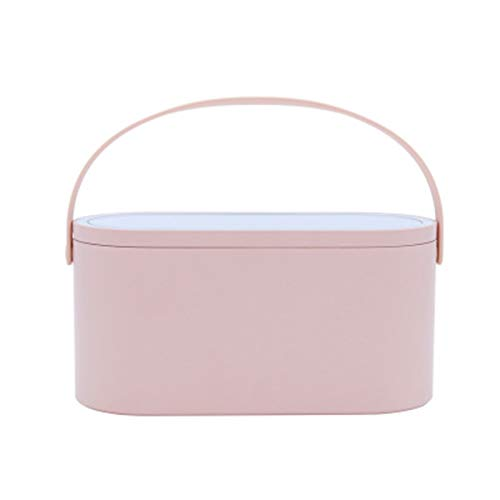 NUCHE Travel Makeup Case,Makeup box with Touch LED Light Mirror,Rechargeable Battery Cosmetic Storage Box,Portable Cosmetic Box Jewelry Organizer with Handle for Ladies (Pink)