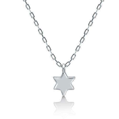 Jewish Star of David Classic Tiny Pendant Necklace in 925 Sterling Silver for Women and Girls for Daily Wear Religious Jewelry Simple and Dainty for Birthday, Bat Mitzvah, Hanukkah Present